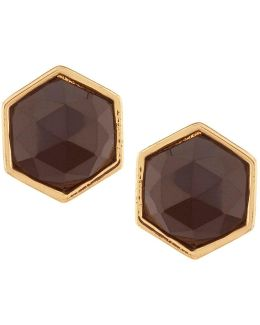 Hexagon Stone Stud Earrings