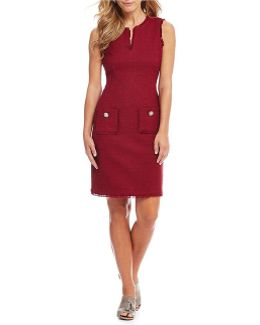 Frayed Edge Sheath Dress