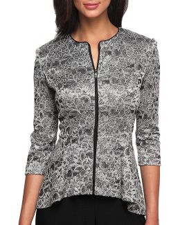 Printed Lace Zip-front Jacket