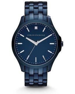 Ax Smart Three Hand Blue Ip Stainless Steel Bracelet Watch With Genuine Diamond