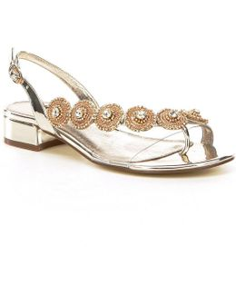 Daisy Crystal Medallion Sling Back Dress Sandals