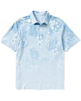 Short-sleeve Floral Fade Polo Shirt