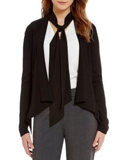Shawl Collar Open Front Knit Cardigan