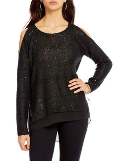 Nia Cold Shoulder Sequin High-low Sweater
