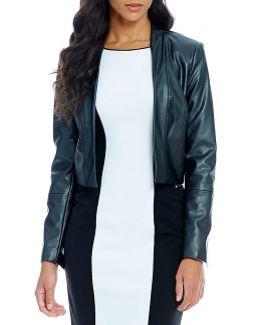 Long Sleeve Faux Leather Jacket