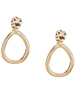 Hammered Drop Hoop Clip-on Earrings