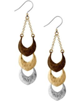 Tri-tone Linear Drop Earrings