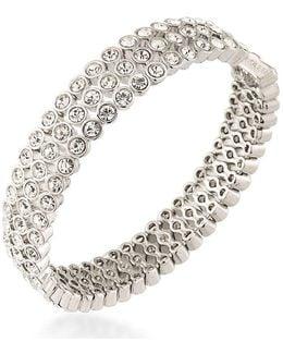 Silver-tone Crystal Bangle Bracelet