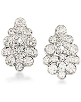 Silver-tone Crystal Cluster Stud Earrings