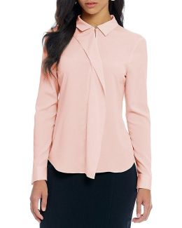 Convertible Collar Ruffle Front Long Sleeve Blouse