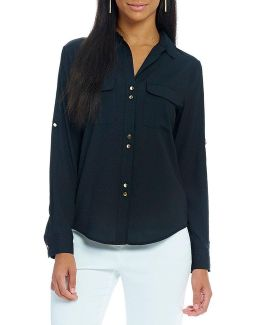 Crepe De Chine Long Sleeve Roll Tab Shirt