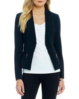 Zip Pocket Open Front Crepe Jacket