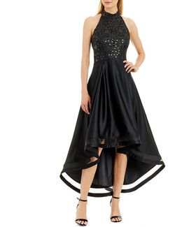 Sequin Lace High-low Halter Dress