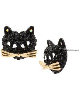 Pavé Black Cat Stud Earrings