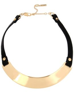 Faux-leather & Sculptural Metal Collar Necklace