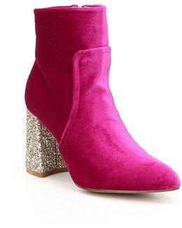 Kacey Velvet Glitter Heel Booties