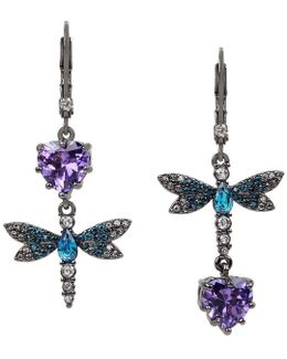 Cubic Zirconia Dragonfly Double-drop Mismatch Earrings