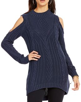 Riva Mock Neck Cold Shoulder Cable-knit Sweater