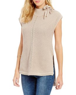 Elin Lace-up Mock Neck High-low Sleeveless Sweater