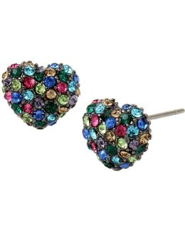 Pavé Heart Stud Earrings