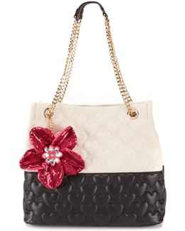 Be My Better Half Heart-quilted North/south Tote