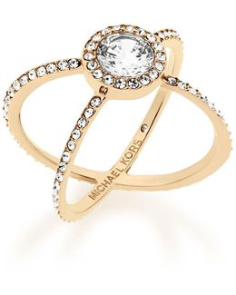 Modern Brilliance Crystal Double-band Ring/goldtone