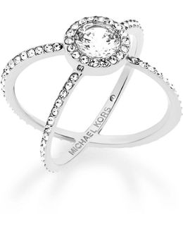 Crystal Pavé Crisscross Barrel Ring