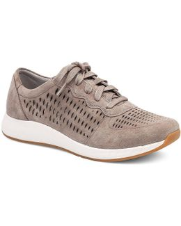 Charlie Suede Stain Resistant Perforated Lace Up Sneakers