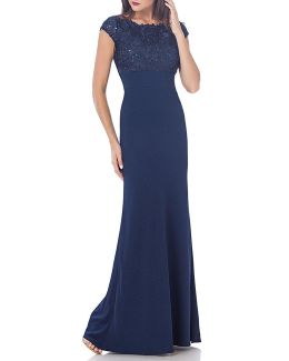 Guipure Round Neck Cap Sleeve Lace And Sequin Crepe Gown