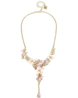 Pavé Flower Y-necklace