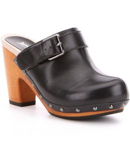 Serfina Wood Leather Studded Buckle Block Heel Slip-on Clogs