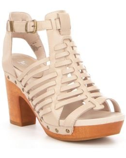 Valentina Leather Caged Wood Block Heel Sandals