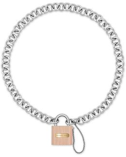 Ridged Padlock Statement Necklace