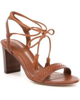 Helaine Leather Banded Ankle Wrap Tassel Sandals