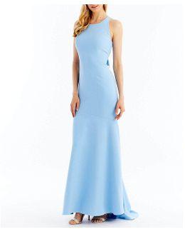 Ruffled Open-back Sleeveless Crepe Gown