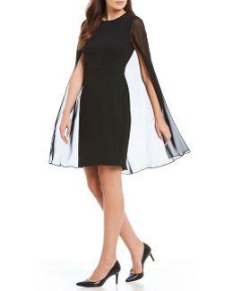 Sleeveless Chiffon Cape Sheath Dress