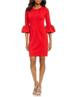 3/4 Bell Sleeve Sheath Dress