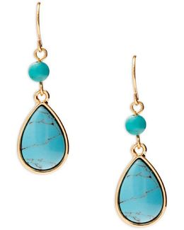 Turquoise Stone Double-drop Earrings