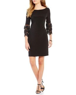 Layered Lace Bell Sleeve Solid Matte Jersey Shift Dress
