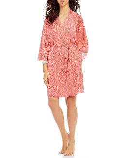 Pink Label Lace-trimmed Mosaic Wrap Robe