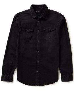 Jeans Basic Solid Denim Shirt