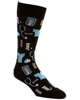 Medical Motif Crew Socks