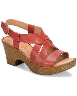Carmo Leather Criss Cross Sling Back Block Heel Sandals