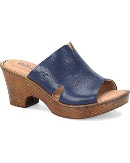 Crato Leather Triangular Cutout Peep Toe Wooden Block Heel Slides