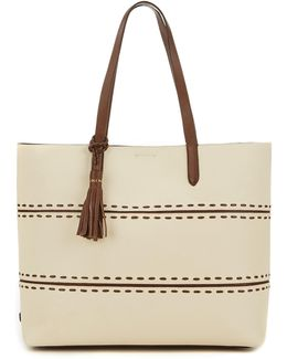 Pinch Tasseled Whip-stitched Tote