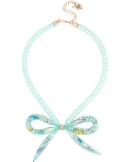 Faux-pearl-filled Mesh Tube Bow Frontal Necklace