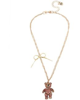 Pavé Teddy Bear & Bow Pendant Necklace