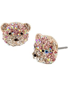 Pavé Teddy Bear Stud Earrings
