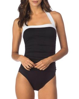 Bel Aire Solid Shirred Bandeau One-piece