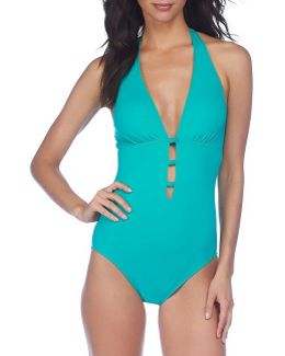 Beach Club Solids Knotted Halter One-piece